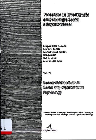 Percursos da investigação em psicologia social e organizacional (do Encontro de Investigação Pós-Graduada em Psicologia Social e Organizacional)