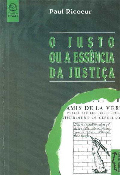 O justo ou a essência da justiça (Paul Ricoeur)