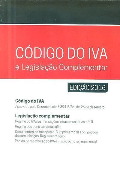 Código do IVA e legislação complementar 2016