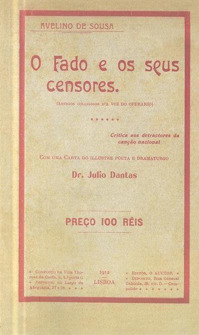 O fado e os seus censores (Avelino de Sousa)