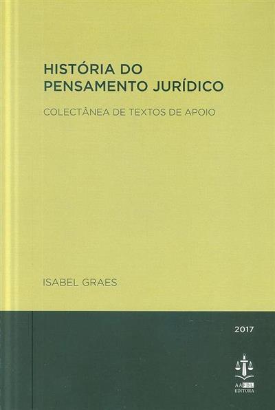 História do pensamento jurídico (Isabel Graes)