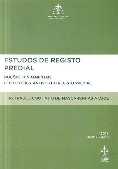 Estudos de registo predial (Rui Paulo Coutinho Mascarenhas Ataíde)