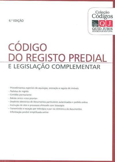 Código do registo predial e legislação complementar