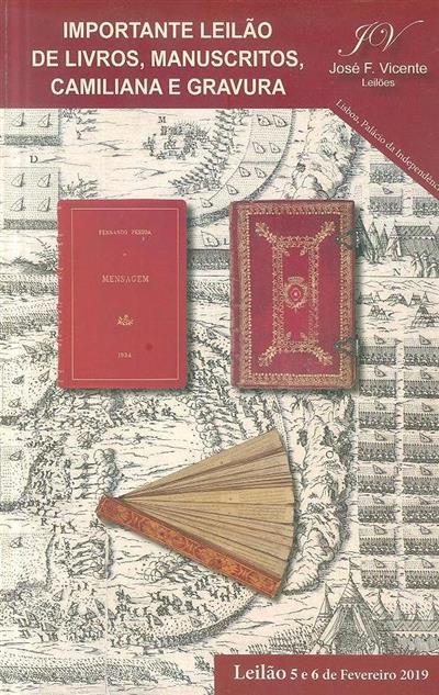 Importante leilão de livros, manuscritos, fotografia e gravura (José F. Vicente Leilões)