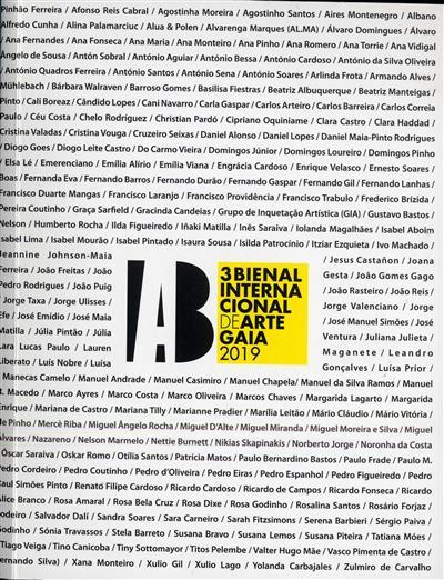 3ª Bienal Intenacional de Arte Gaia 2019 (coord. Agostinho Santos, Humberto Nelson, José Costa)