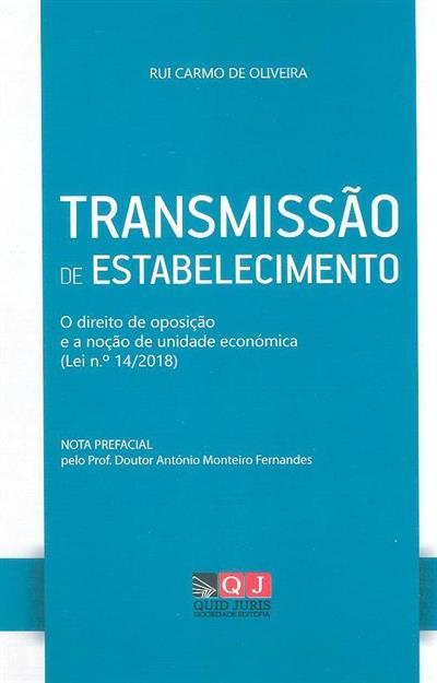 Transmissão de estabelecimento (Rui Carmo de Oliveira)